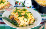 Лазанья с колбасой и сыром