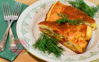 Заливной пирог с колбасой и картошкой